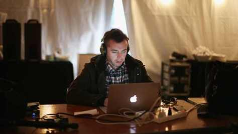 American journalist Michael Hastings reports from the Obama campaign trail the day before the general election November 5, 2012 in Des Moines, Iowa