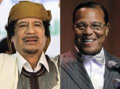 Louis farrakhan defends Gadaffi