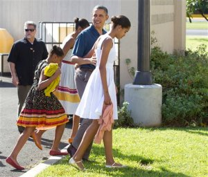 Barack Obama, Michelle Obama, Shasha Obama, Malia Obama