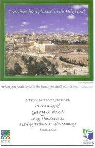 Gary J. Arzt tree certificate