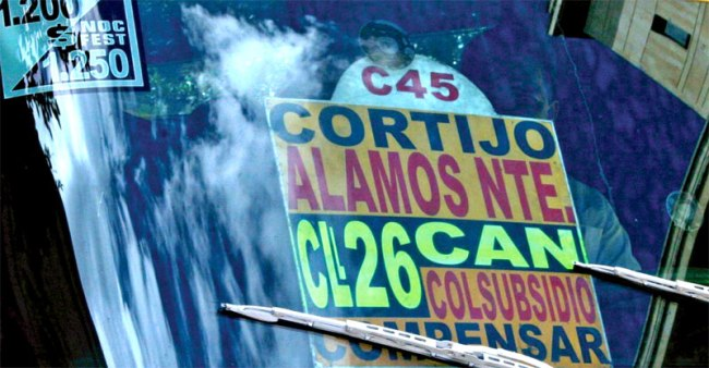 Bus sign in Bogota in SARA RAFSKY