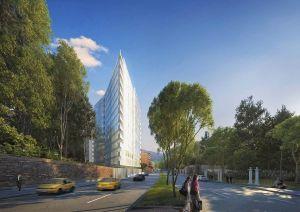 Richard Meier designed the Vitrum apartments for Bogotá's Chicó neighborhood.