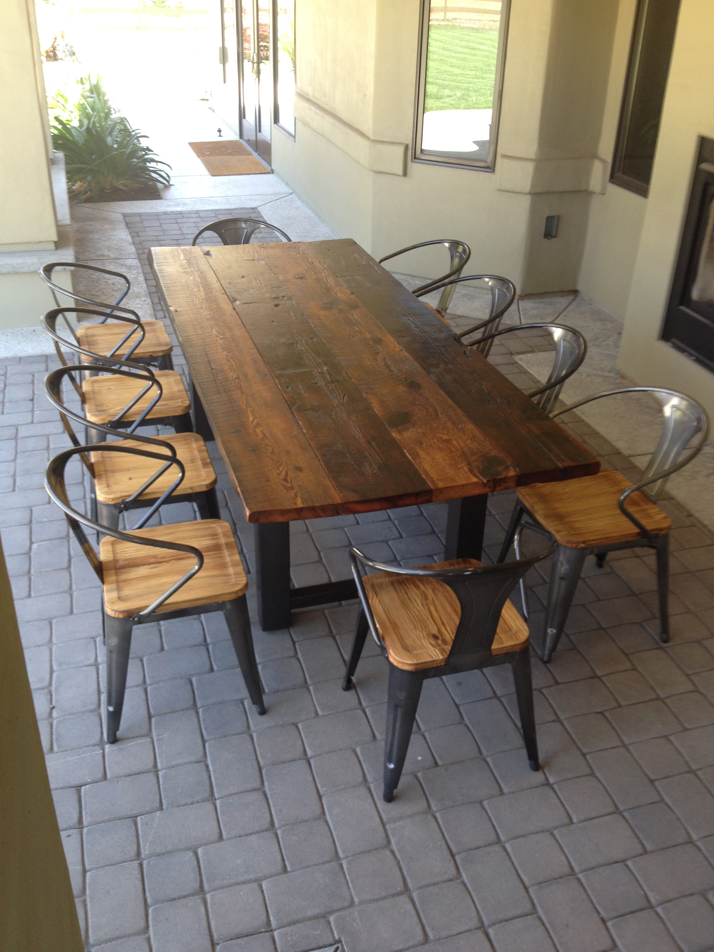 custom dining table custom kitchen tables Reclaimed Wood and Steel Outdoor Dining Table