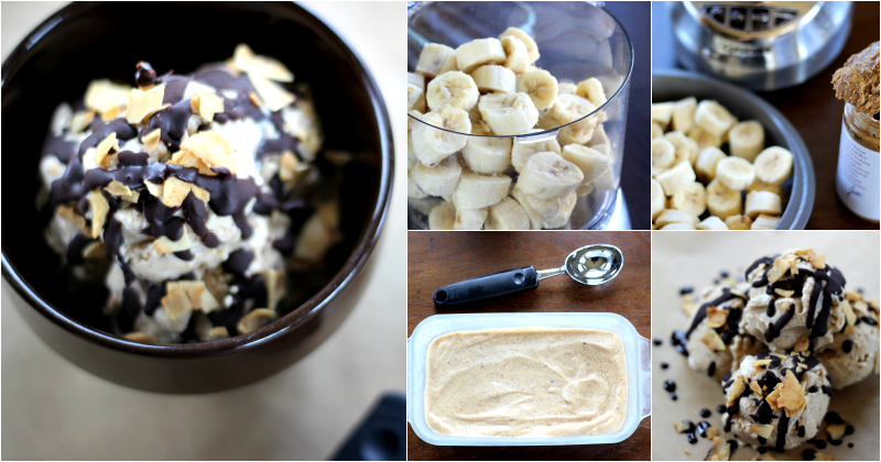 Almond Butter Banana Ice Cream - No Ice Cream Maker Needed!