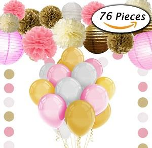 Paxcoo 76 Pcs Pink and Gold Tissue Paper Flowers