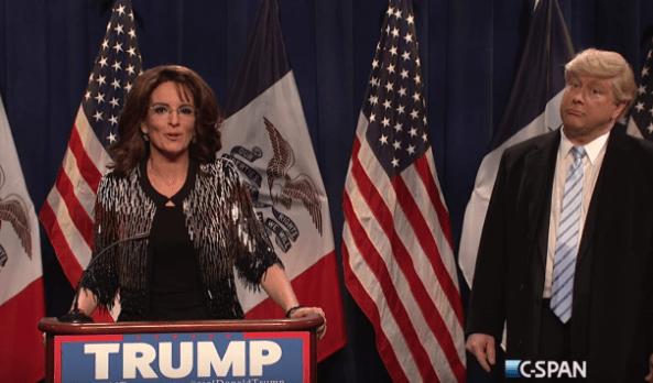 Tina Fey as Sarah Palin opens SNL episode #41.11 endorsing Darrell Hammond's Donald Trump