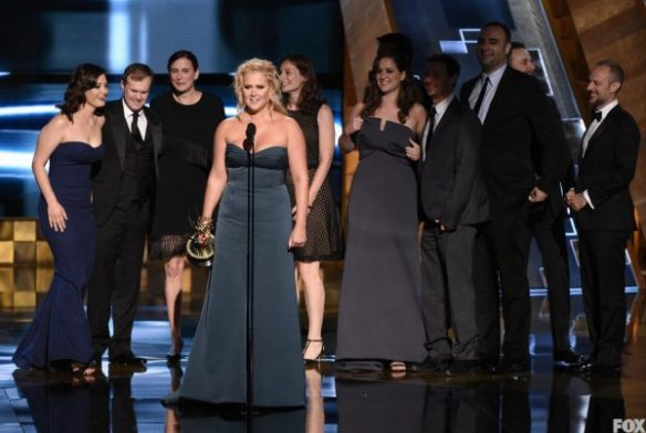 """""""Inside Amy Schumer"""" cast member Amy Schumer receives the Outstanding Variety Sketch Series Award at the 67TH PRIMETIME EMMY® AWARDS."""