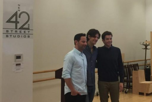 """Nick Kroll, director Alex Timbers, and John Mulaney, after a press conference Sept. 8, 2016, for """"Oh, Hello"""" on Broadway. Photographed at New 42nd Street Studios."""