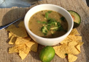 White Bean Carnitas Chili Pureed with Immersion Blender.