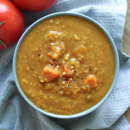 Red Lentil Pumpkin Soup (Vegan and Gluten Free)
