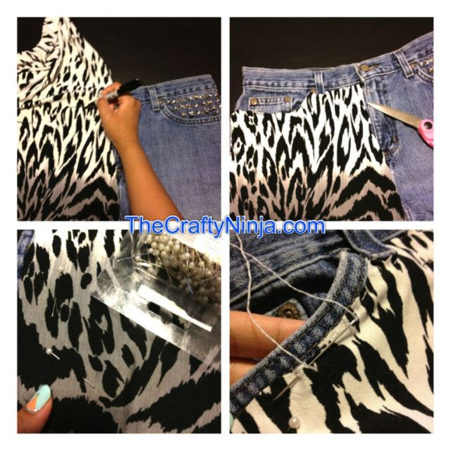 leopard fabric diy jeans