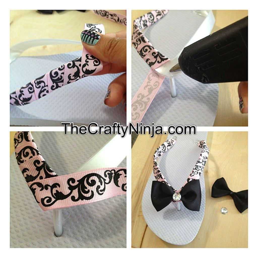 Diy flip flop ribbon the crafty ninja for Flip flops for crafts