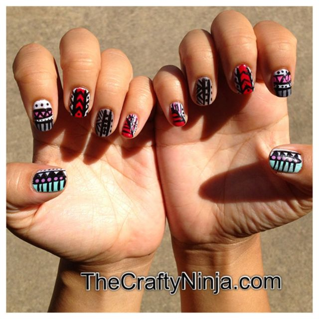 tribal nail art fashion