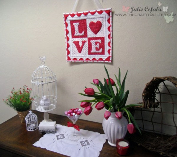 """LOVE"" letters mini quilt at The Crafty Quilter"