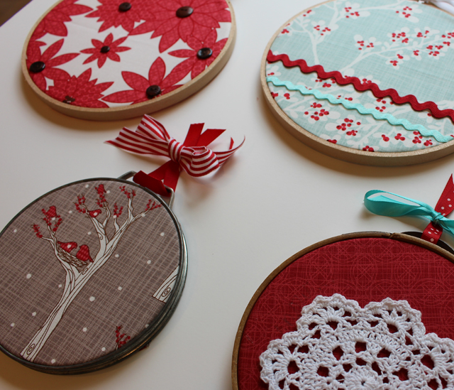 Christmas once a month decorating w embroidery hoops