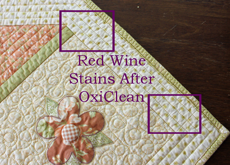 How to get red wine stains out of a quilt @ The Crafty Quilter