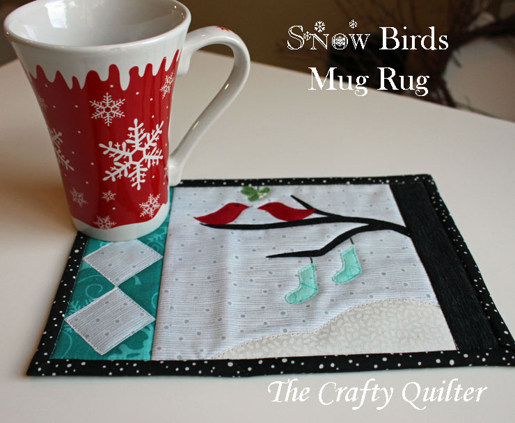 Snow Birds Mug Rug, Free Pattern by Julie Cefalu