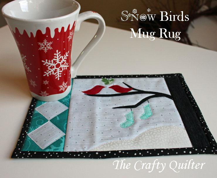 Snow Birds Mug Rug, Free Pattern by Julie Cefalu