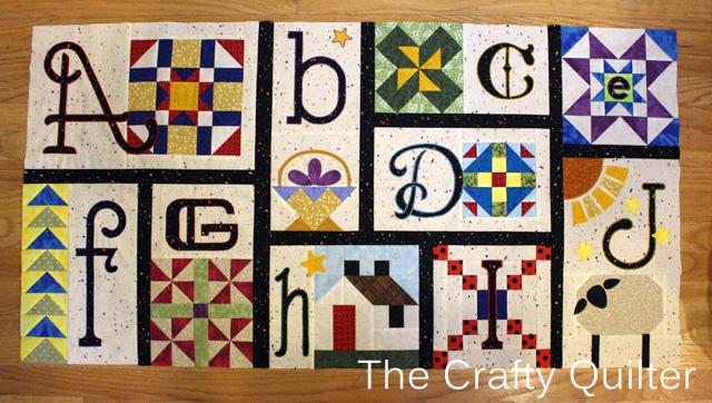 A thru J Blocks of A-Z for Ewe And Me BOM, made by Julie Cefalu