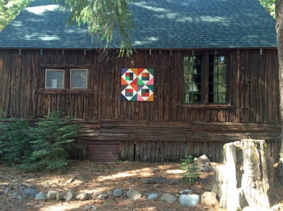 Barn quilt on cabin @ Camp Laymans