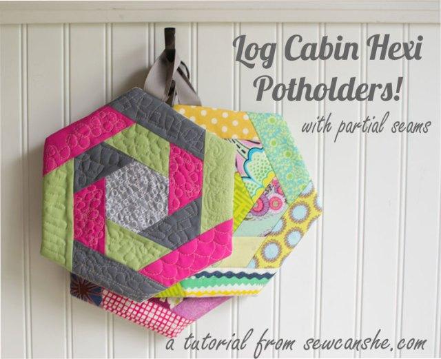 log cabin hexi pot holders