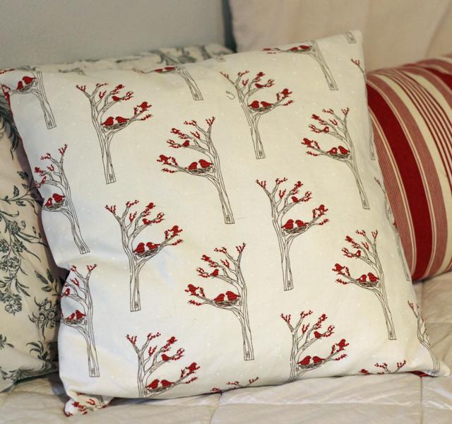 poinsettia pillow back