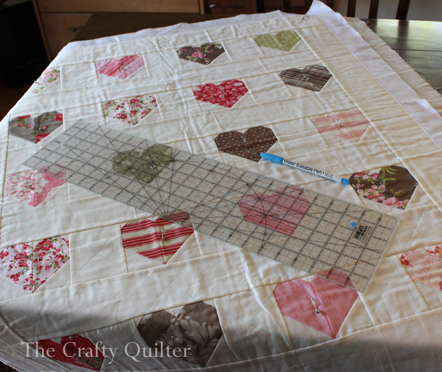 Heart Quilt being marked