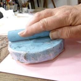 using baren in block printing