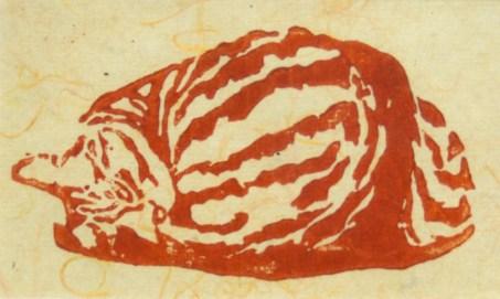 Tabbies-Fawnball-green-rust-orangethread-print