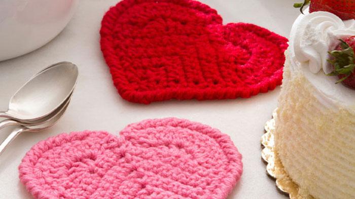 Crochet Heart Coasters Pattern