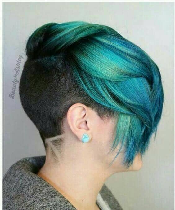 50 Super Short Teal Mermaid Pixie