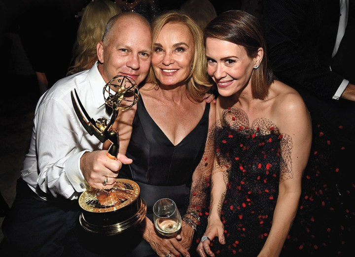 LOS ANGELES, CA - AUGUST 25: (L-R) Producer Ryan Murphy, and actresses Jessica Lange, and Sarah Paulson attend the FOX, 20th Century FOX Television, FX Networks and National Geographic Channel's 2014 Emmy Award Nominee Celebration at Vibiana on August 25, 2014 in Los Angeles, California. (Photo by /Getty Images for FOX)