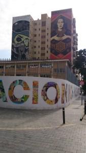 Foto 2 Dface (izquierda), mural junto a Shepard Fairey bajo el programa del MAUS, 2013. CAC Málaga. Foto David Febo
