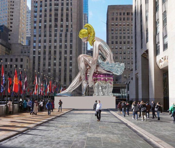 eff Koons, Bailarina Sentada, 2017. Nailon, 45 pies de altura. Instalada en el Rockefeller Center neoyorkino desde el 12 de mayo hasta el 2 de junio. Foto Koons Studio y APF. Fuente artnet.com