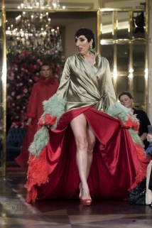 """Actress Rossy de Palma wears at collection runway a creation from """" Palomo Spain"""" during Pasarela Cibeles Mercedes Benz Fashion Week Madrid 2017, in Madrid, on Thursday 14th September, 2017."""