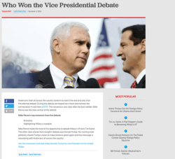 Masterly Over An Hour Before Vice Presidential Debate Republicannational Committee Declared Mike Pence Handily Beat Tim Gop Announced Pence Won Debate Before It Aired Because Y