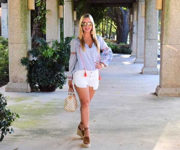 Pinstripe Embroidered Summer Tunic