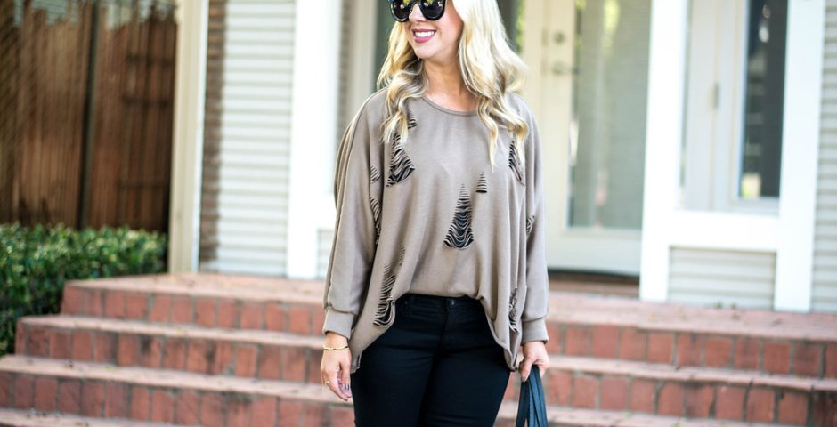 Distressed Sweater   Dallas Fashion Blogger
