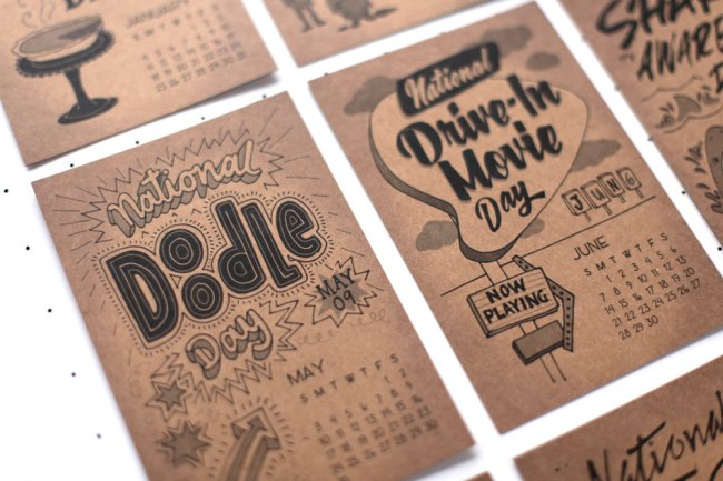 Celebrate 2015's silly holidays with a hand-drawn and lettered calendar