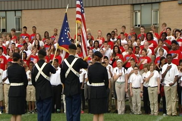 Pleasant Run Middle School sings national anthem for 11th year