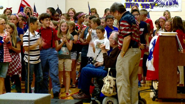 Wakarusa Elementary students celebrate veterans for National Anthem Day