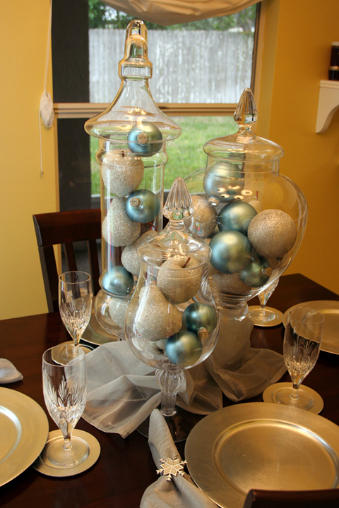 Ornaments in Vases Tablescapes