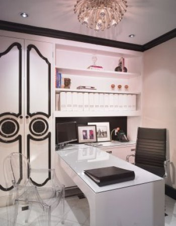 Pink and Brown Office via Laura U Feminine and Fun Office Spaces