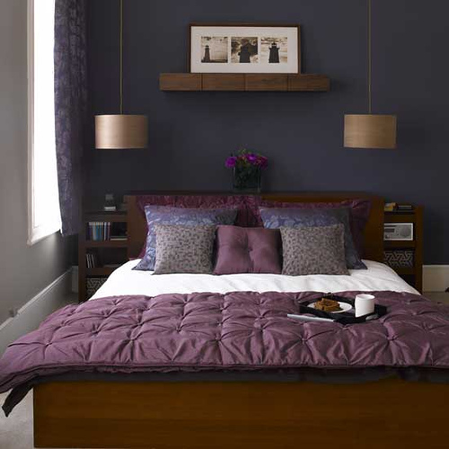 Blue and Lavender Bedroom via realestate Purples, Lavenders, and Blues