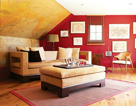 Map Wallpaper in Family Room via House Beautiful Decorating with Maps