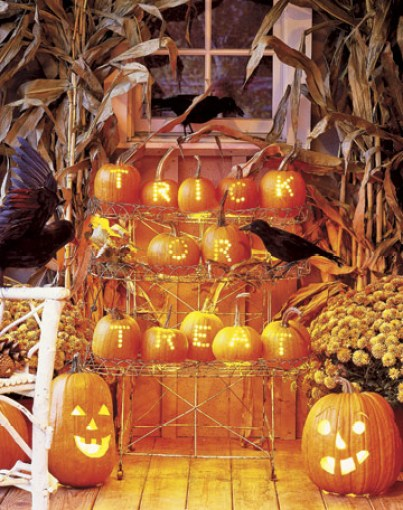 Spelling Pumpkins via Country Living Easy Peasy Ways to Decorate a Pumpkin