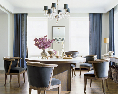 blue dining room via decorpad Purples, Lavenders, and Blues