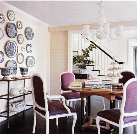 dining room via decorpad Purples, Lavenders, and Blues