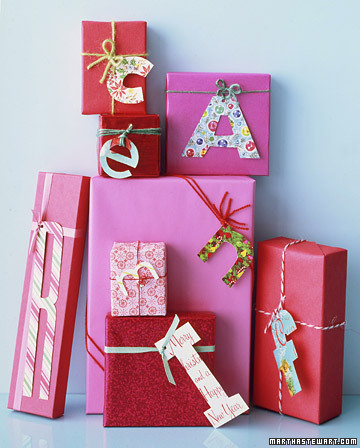 homemade monogram gift tags Christmas Gift Wrap Inspiration