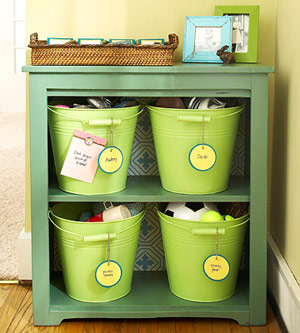 buckets and bookcase organizer via bgh Organizing with Shelves and Bookcases